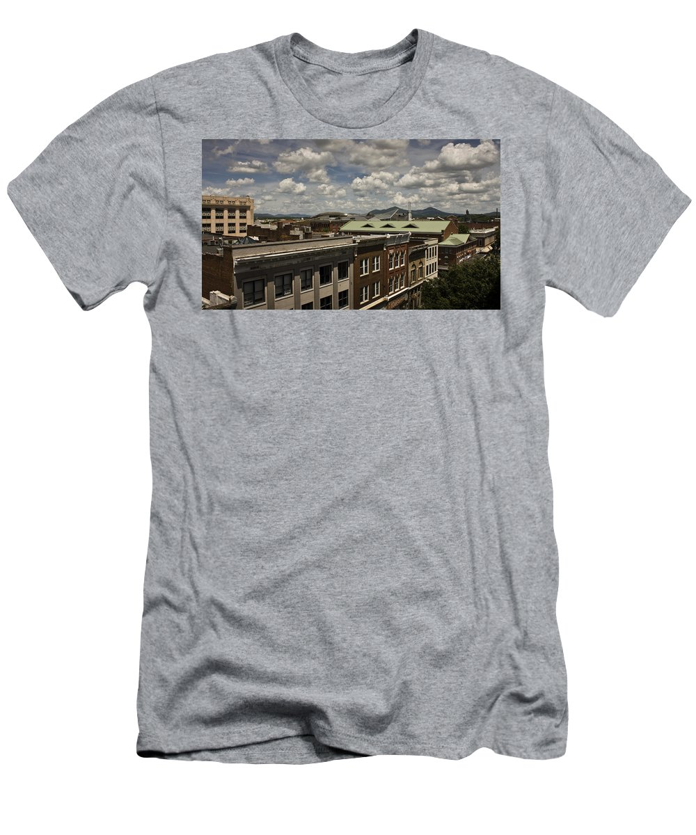 Cityscape Men's T-Shirt (Athletic Fit) featuring the photograph Campbell Avenue Rooftops Roanoke Virginia by Teresa Mucha