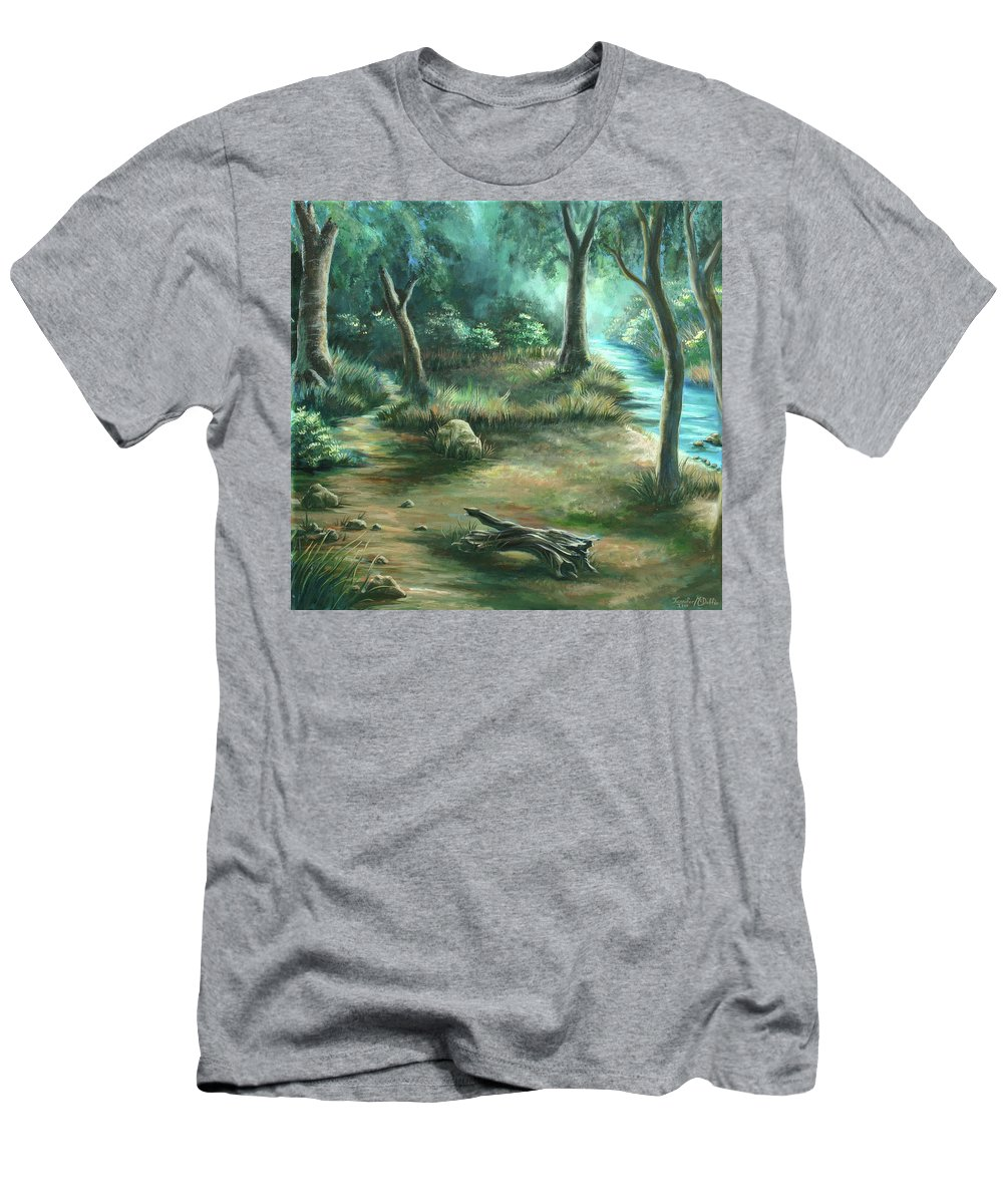 Landscape Men's T-Shirt (Athletic Fit) featuring the painting Camping At Figueroa Mountains by Jennifer McDuffie