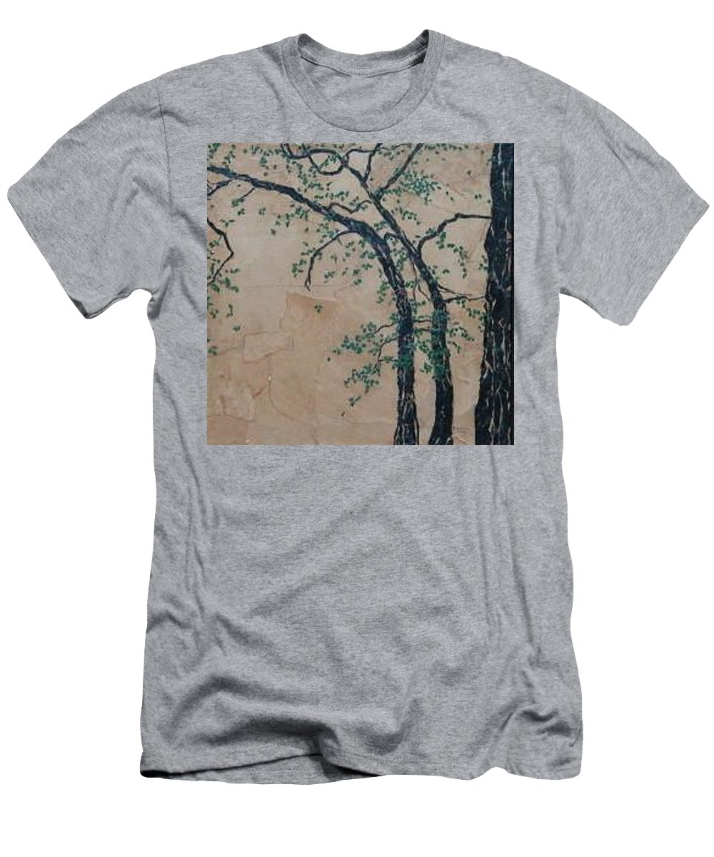 Leafy Tree Men's T-Shirt (Slim Fit) featuring the painting Canandaigua Lake by Leah Tomaino
