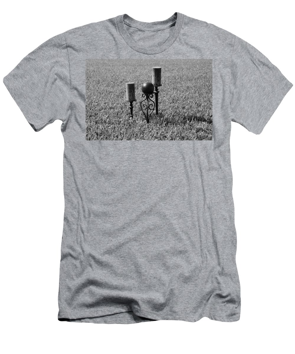 Black And White Men's T-Shirt (Athletic Fit) featuring the photograph Candles In Grass by Rob Hans