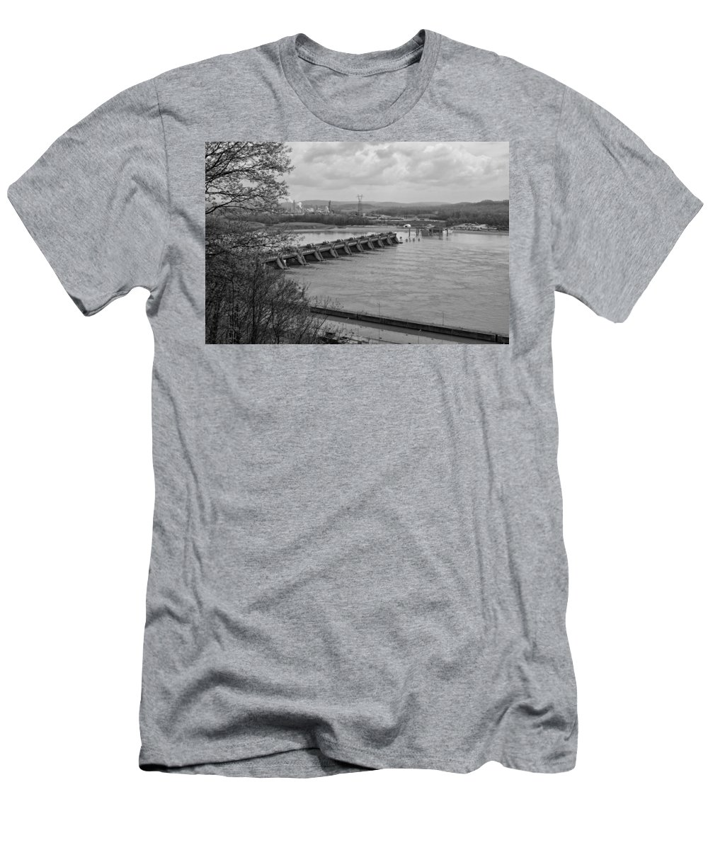 Cannelton Locks And Dam Men's T-Shirt (Athletic Fit) featuring the photograph Cannelton Locks And Dam by Sandy Keeton