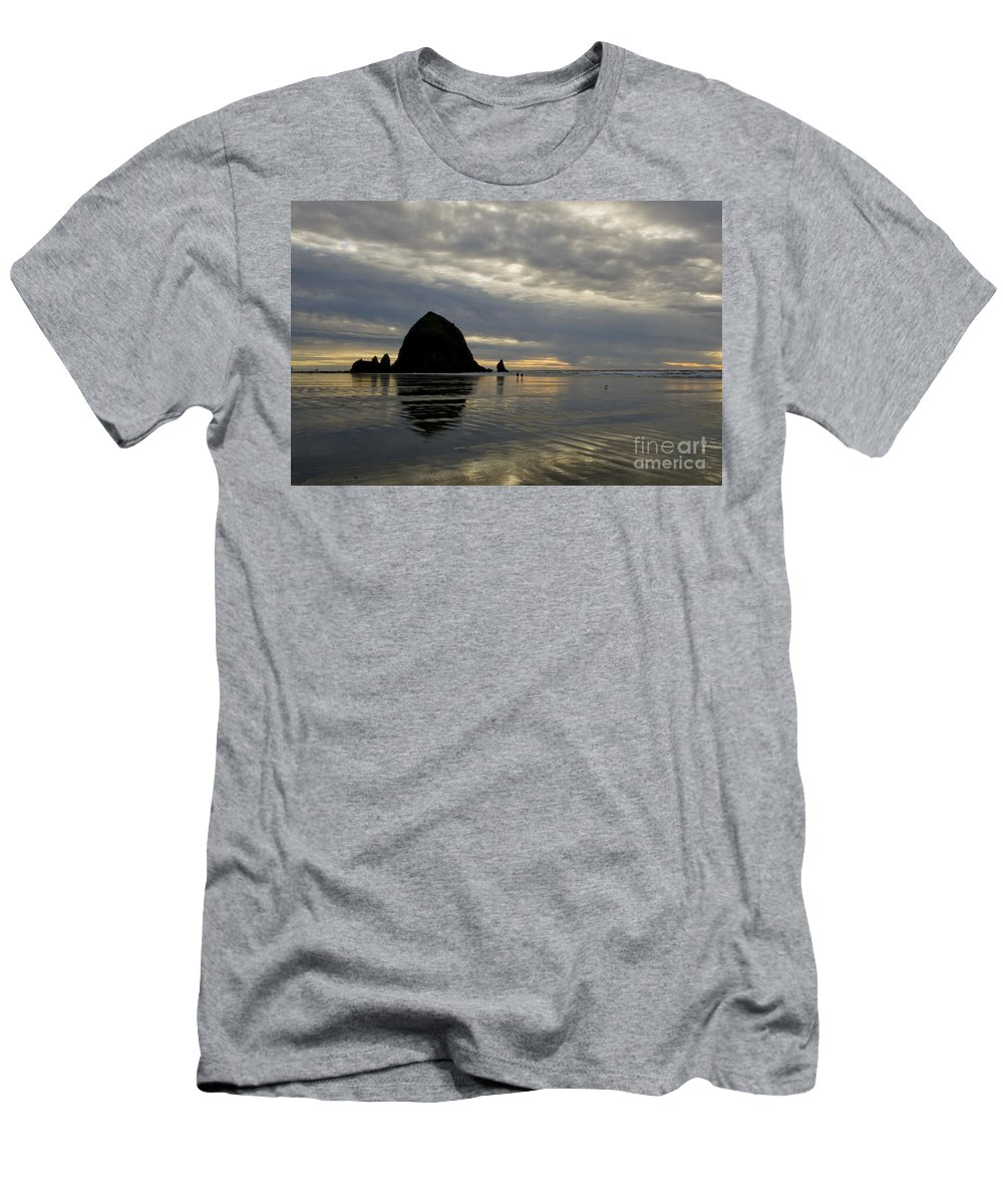 Cannon Beach Men's T-Shirt (Athletic Fit) featuring the photograph Cannon Beach Reflections by Bob Christopher