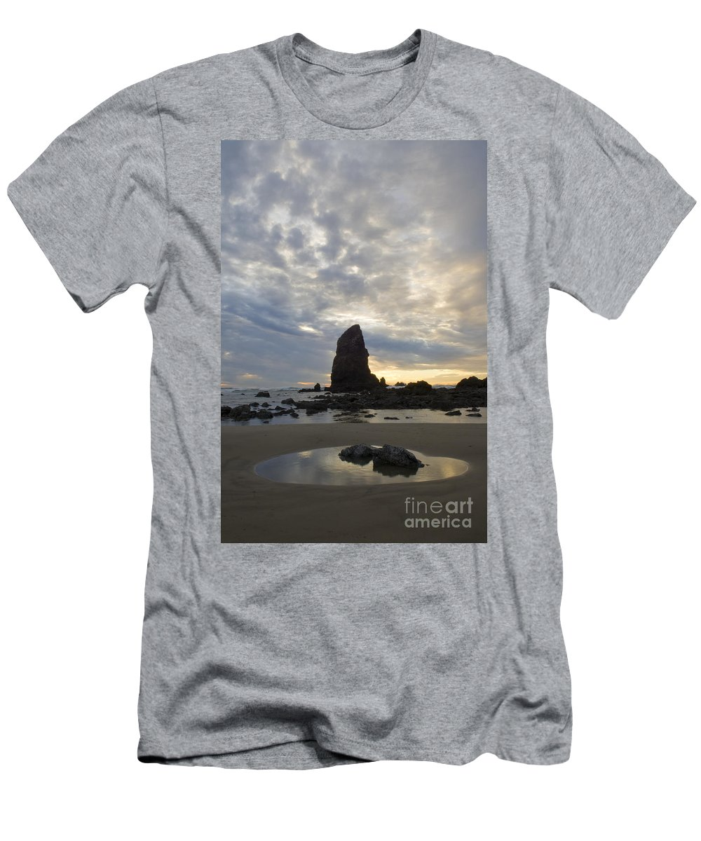 Cannon Beach Men's T-Shirt (Athletic Fit) featuring the photograph Cannon Beach Sunset 1 by Bob Christopher