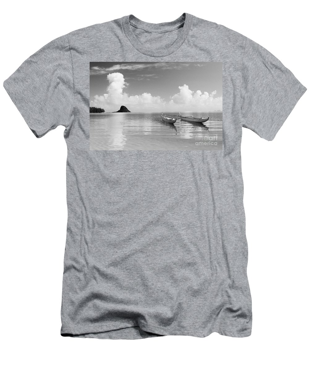 Aku Men's T-Shirt (Athletic Fit) featuring the photograph Canoe Landscape - Bw by Joss - Printscapes