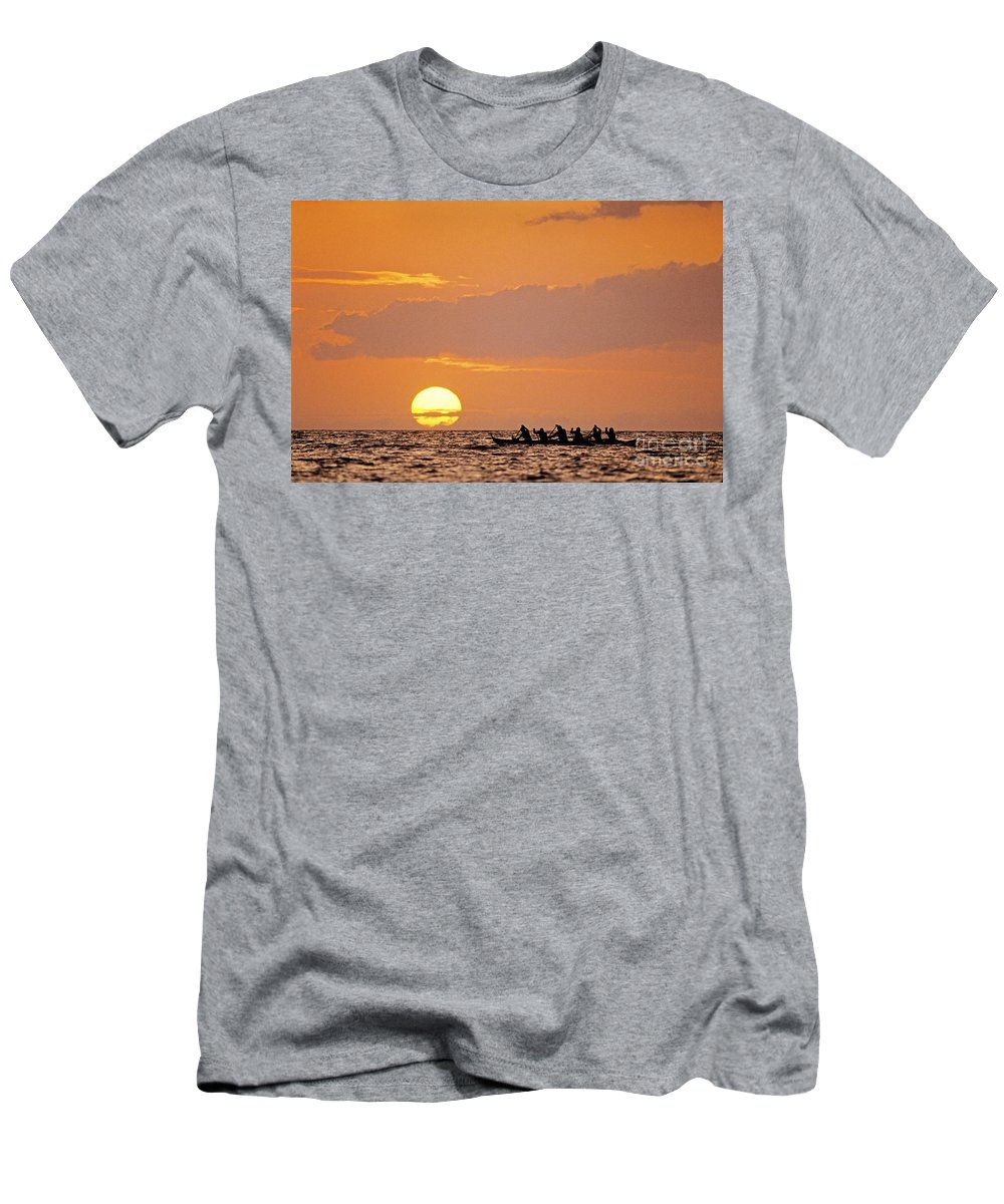 Anaehoomalu Men's T-Shirt (Athletic Fit) featuring the photograph Canoeing At Sunset by Greg Vaughn - Printscapes