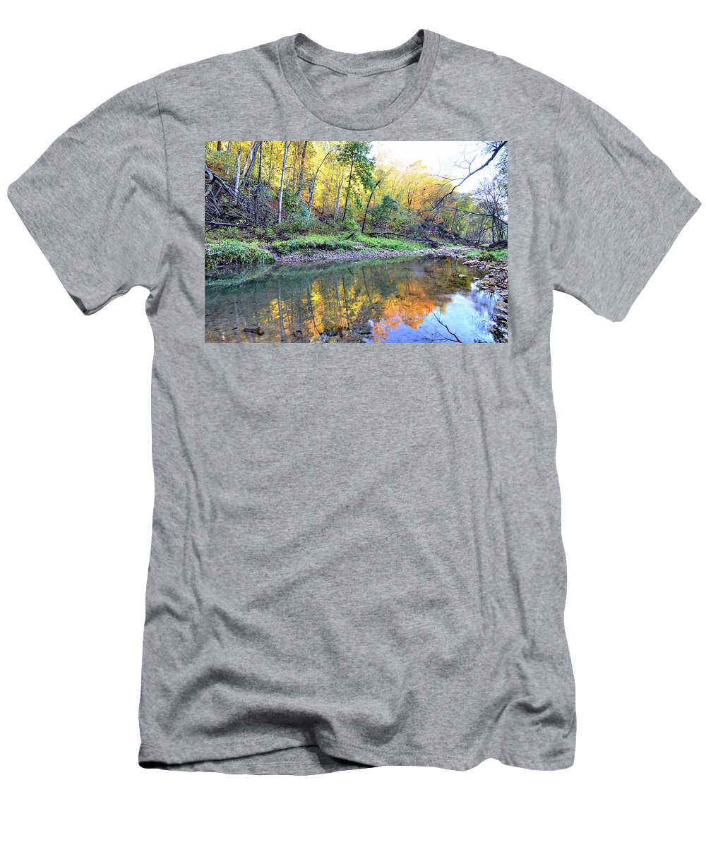River Men's T-Shirt (Athletic Fit) featuring the photograph Canyon Autumn 2 by Bonfire Photography