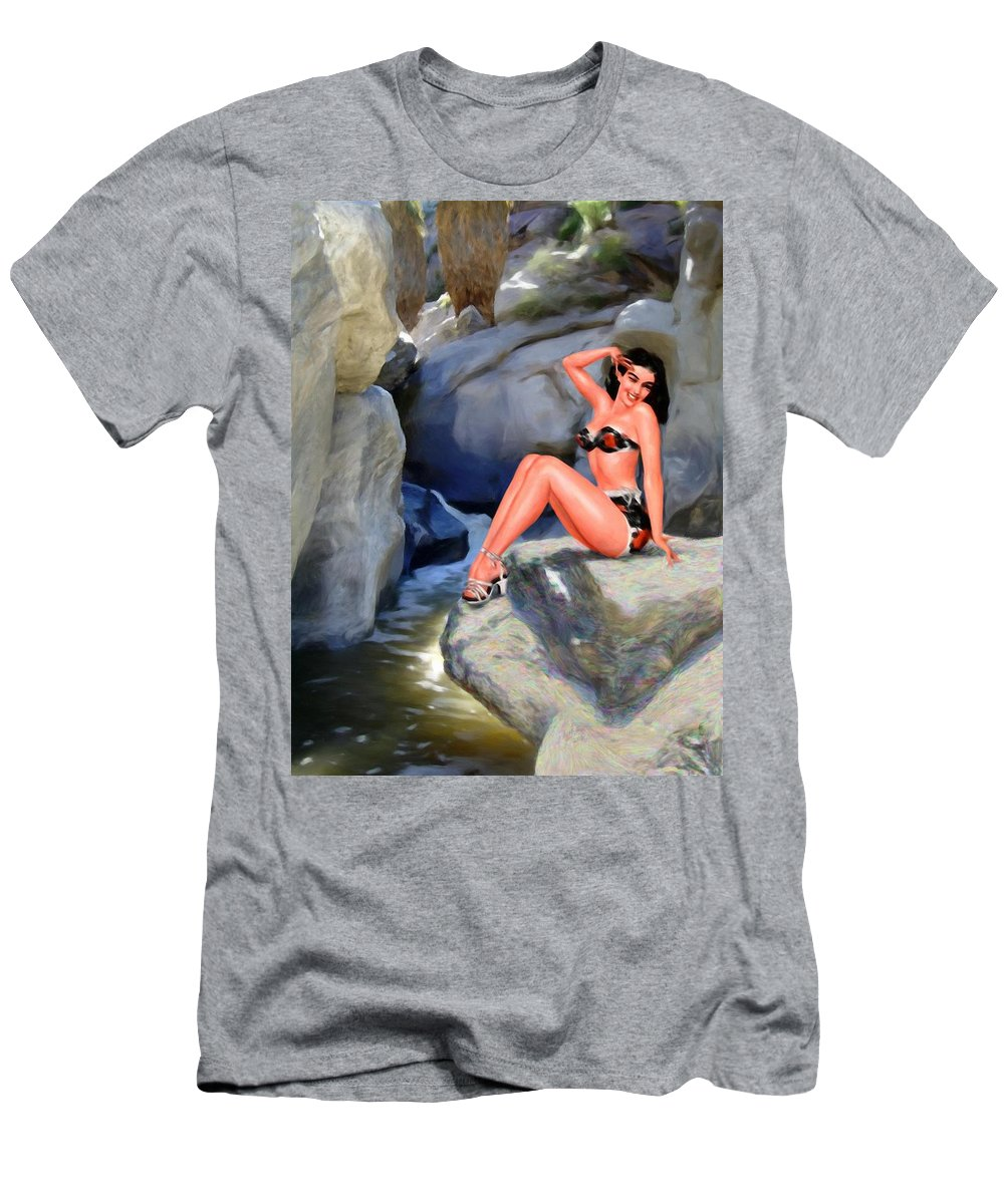 Landscape Men's T-Shirt (Athletic Fit) featuring the digital art Canyon Girl by Snake Jagger