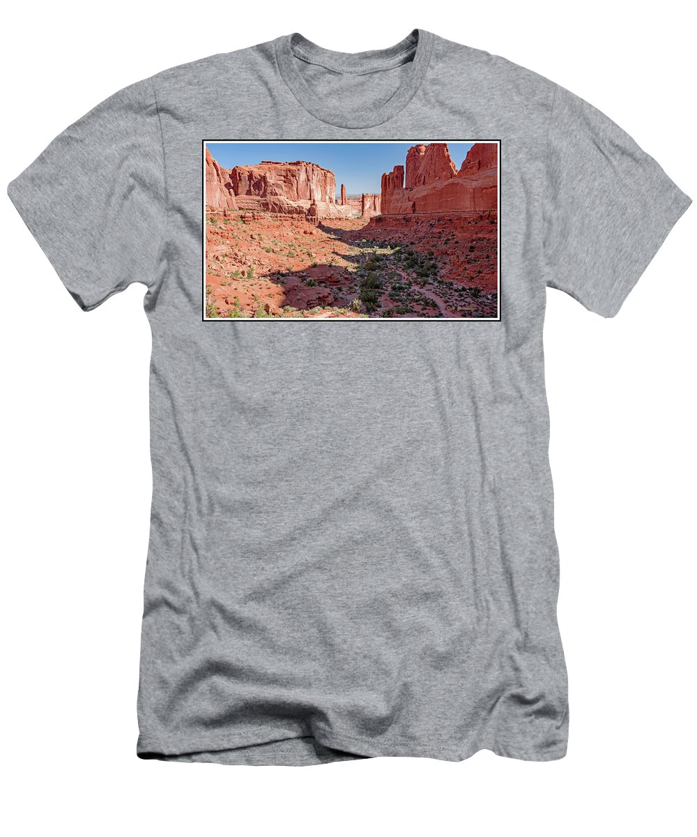 Arches National Park Men's T-Shirt (Athletic Fit) featuring the photograph Arches National Park, Moab, Utah by A Gurmankin