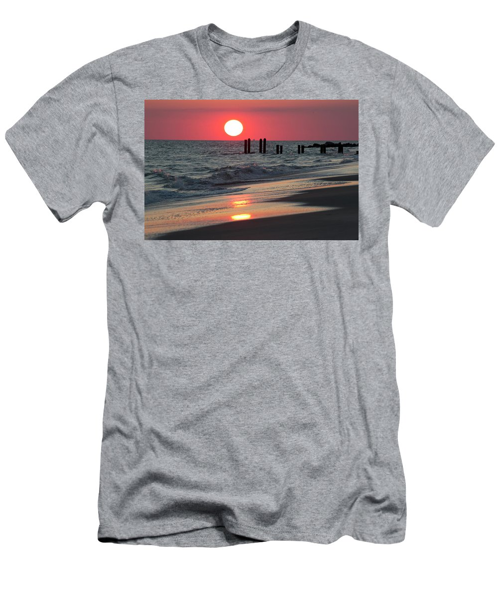 Cape May Men's T-Shirt (Athletic Fit) featuring the photograph Cape May Nj Sunset, Philadelphia Beach by Russell Ingram
