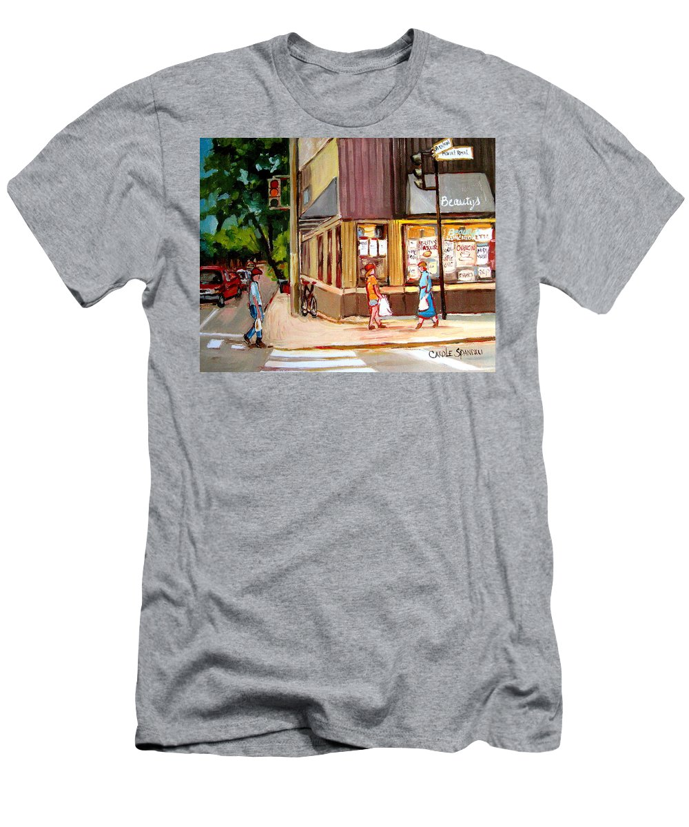 Cafes Men's T-Shirt (Athletic Fit) featuring the painting Cappucino Cafe At Beauty's Restaurant by Carole Spandau