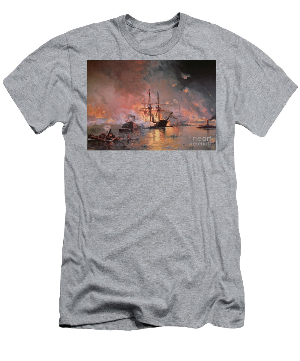 Capture Of New Orleans By Union Flag Officer David G. Farragut T-Shirt featuring the painting Capture of New Orleans by Union Flag Officer David G Farragut by Julian Oliver Davidson