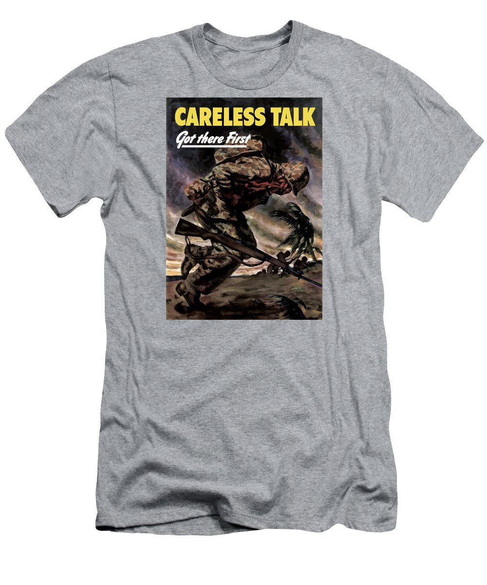 Careless Talk Men's T-Shirt (Athletic Fit) featuring the painting Careless Talk Got There First by War Is Hell Store