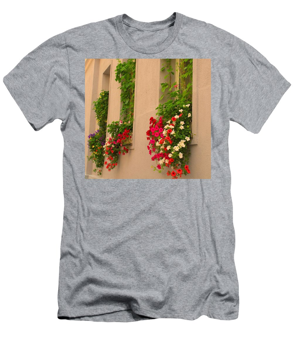 Flowers Men's T-Shirt (Athletic Fit) featuring the photograph Cascading Windows by Ian MacDonald