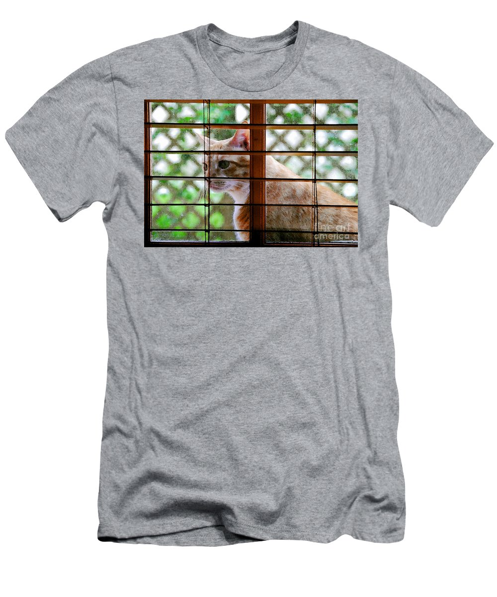 Feline Men's T-Shirt (Athletic Fit) featuring the painting Cat At The Window by David Lee Thompson