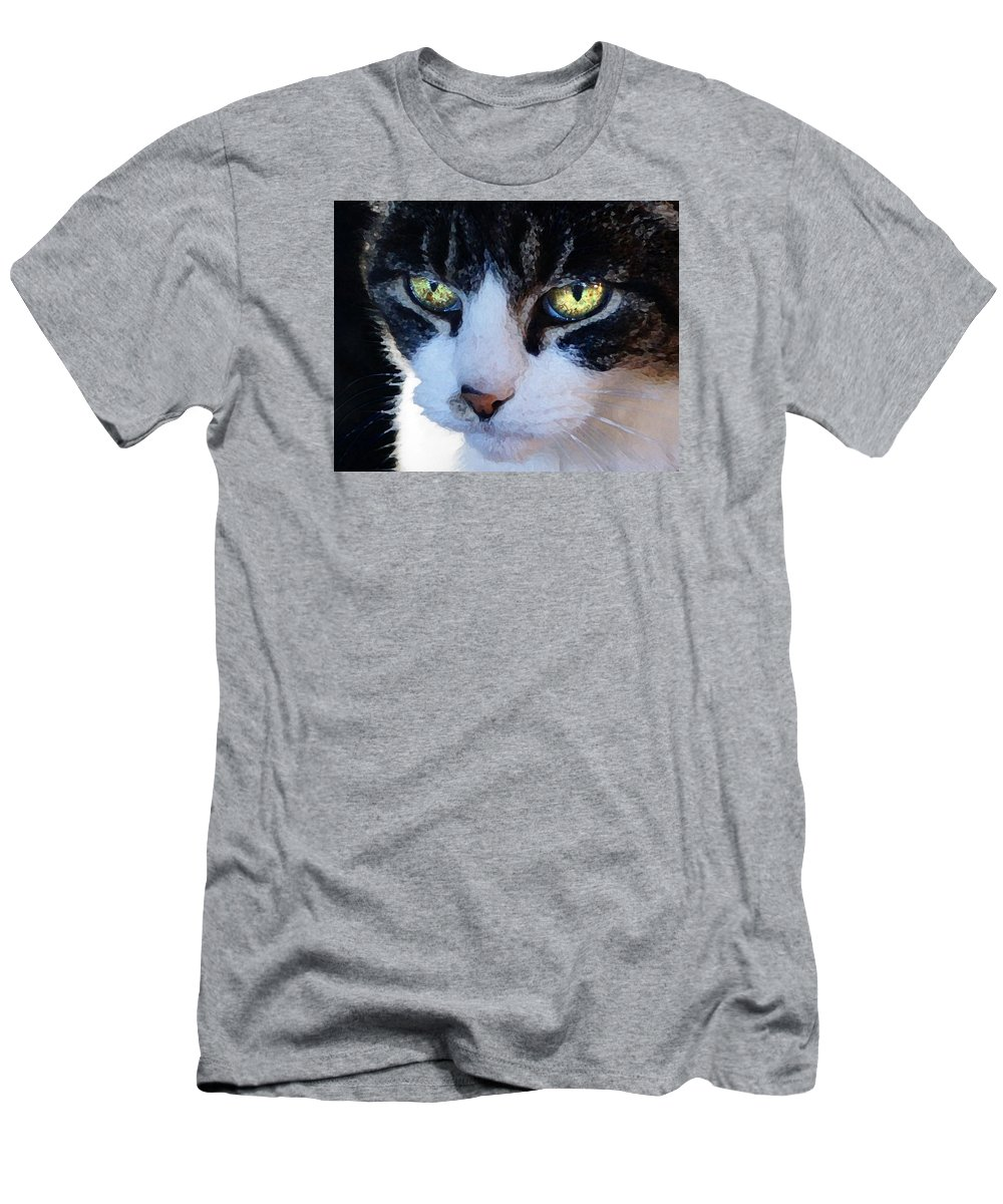 Cat T-Shirt featuring the digital art Cat Eyes by Jana Russon