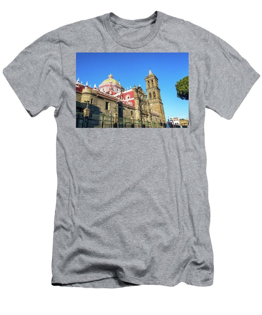 Puebla Men's T-Shirt (Athletic Fit) featuring the photograph Cathedral In Puebla, Mexico by Jess Kraft