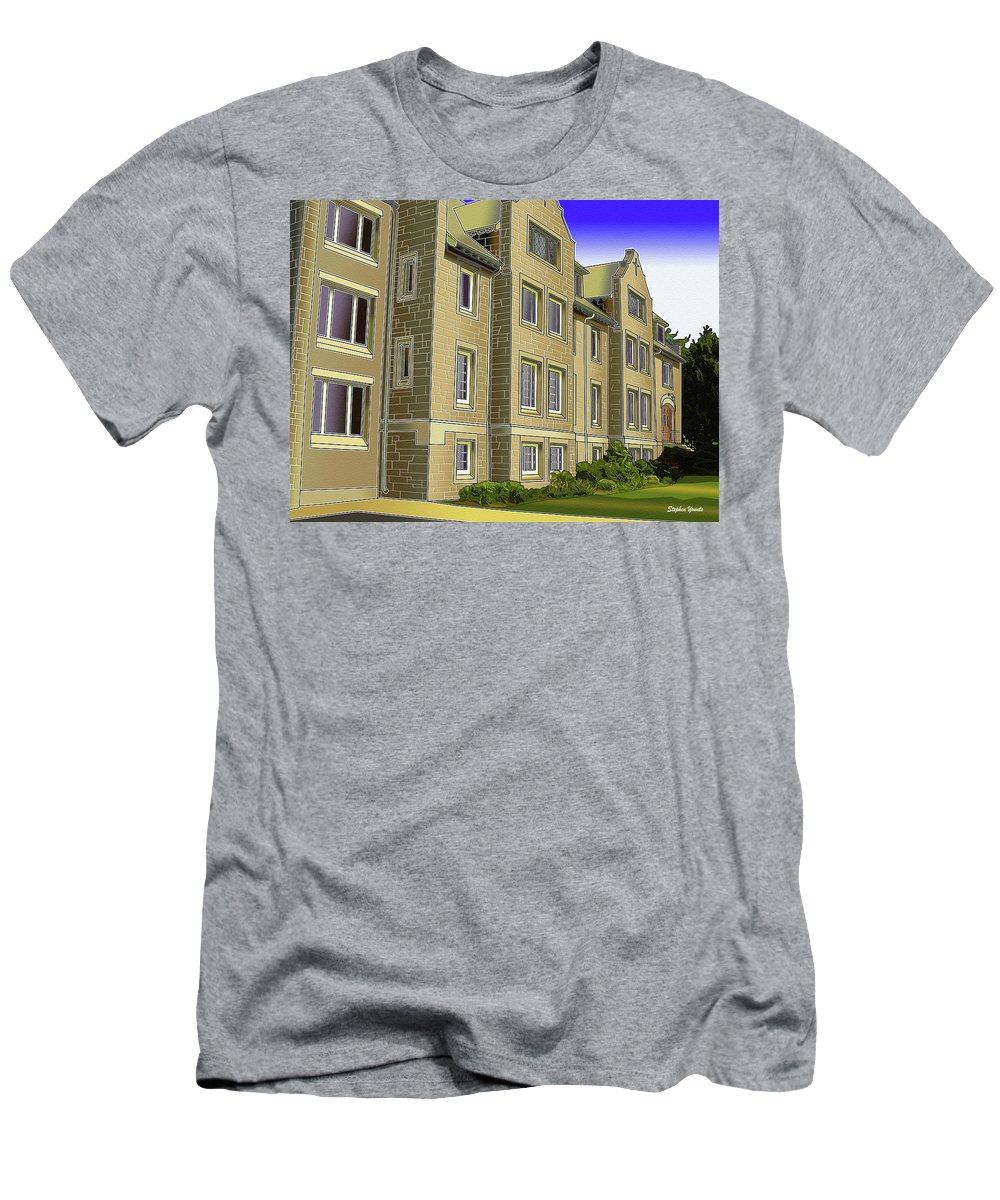 Catonsville Men's T-Shirt (Athletic Fit) featuring the digital art Catonsville United Methodist Church by Stephen Younts