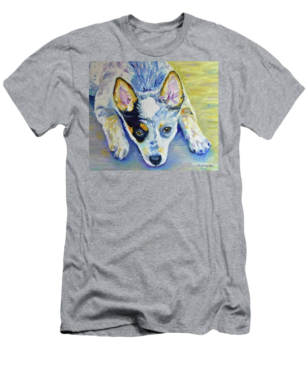 Men's T-Shirt (Athletic Fit) featuring the painting Cattle Dog Puppy by Suzanne Leonard