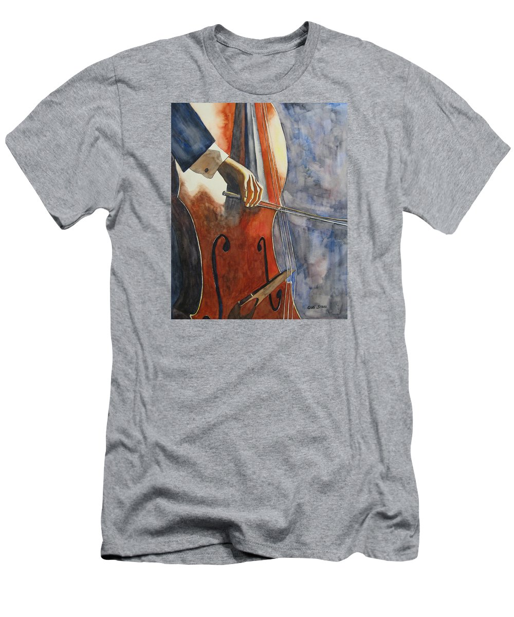Music Men's T-Shirt (Athletic Fit) featuring the painting Cello by Guri Stark