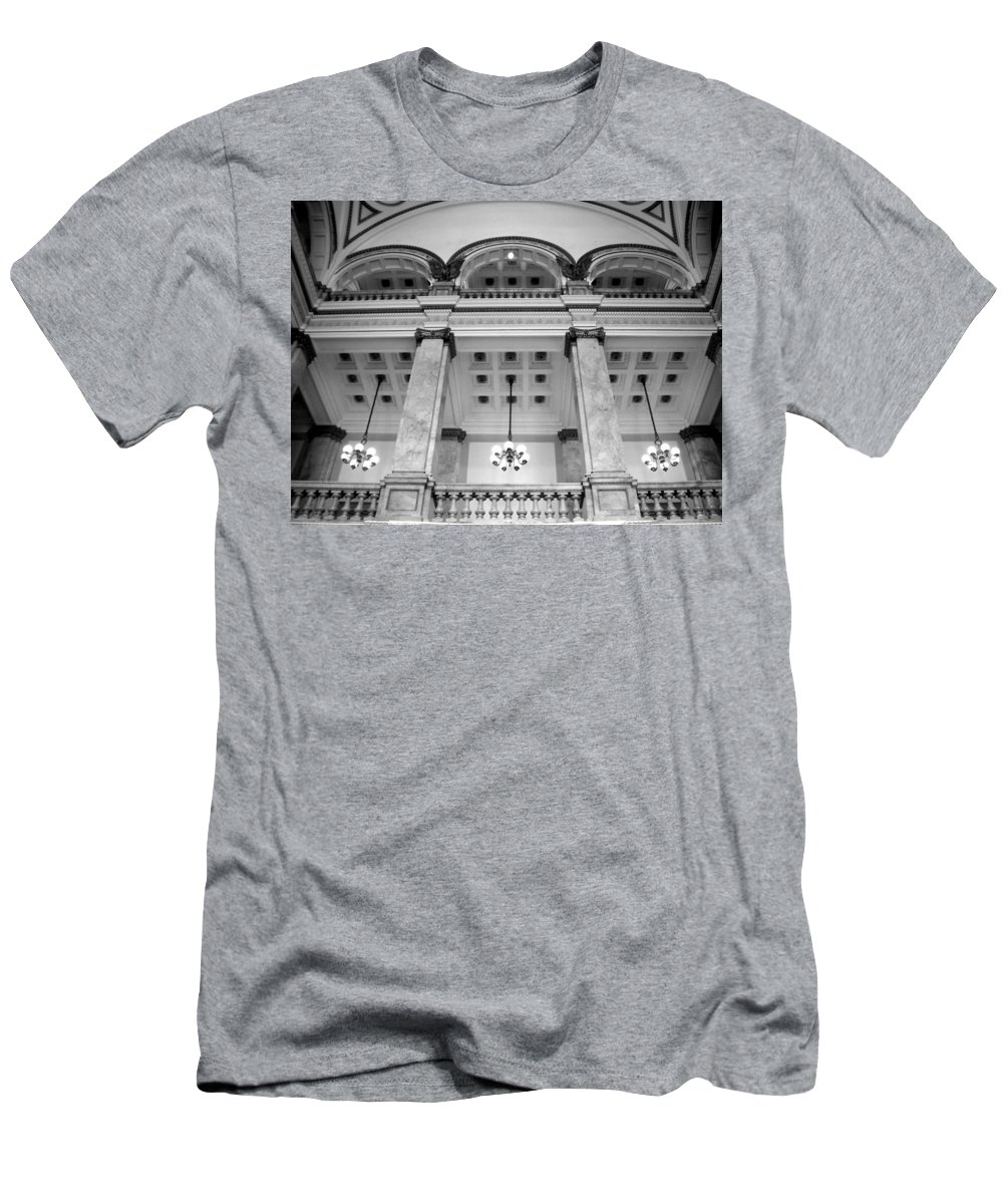 Central Library Men's T-Shirt (Athletic Fit) featuring the photograph Central Library Milwaukee Interior Bw by Anita Burgermeister