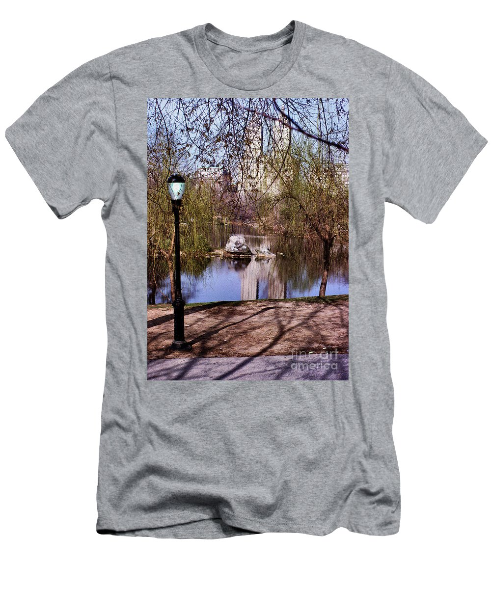 New York Central Park Men's T-Shirt (Athletic Fit) featuring the digital art Central Park Sidewalk by Anthony C Ellis