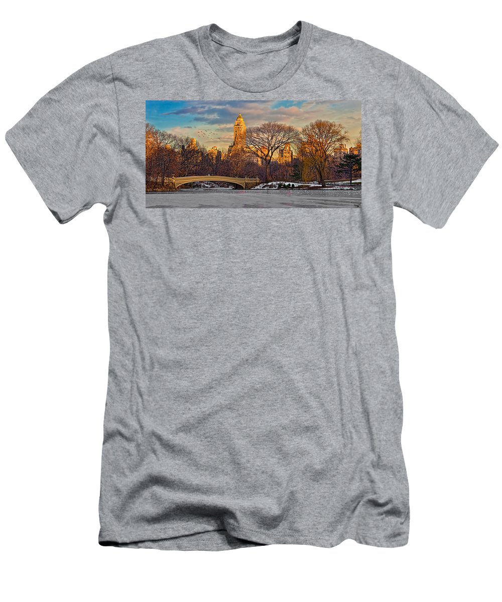 Landscape Men's T-Shirt (Athletic Fit) featuring the photograph Central Parks Famous Bow Bridge by Chris Lord