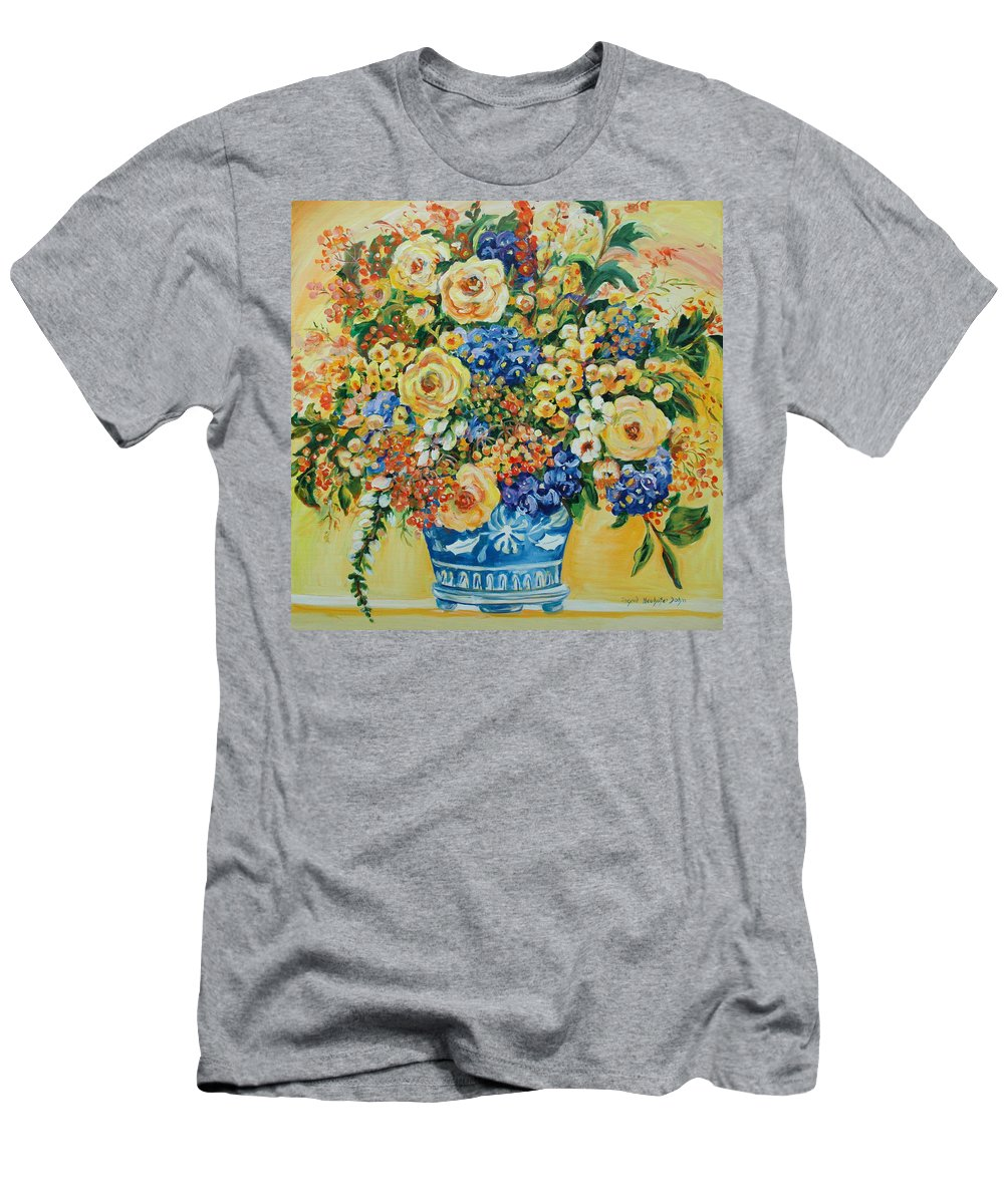 Florals Men's T-Shirt (Athletic Fit) featuring the painting Ceramic Blue by Ingrid Dohm