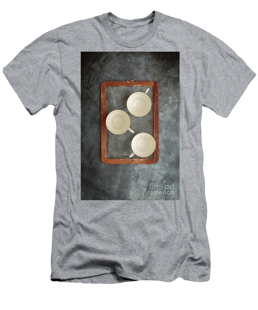 Slate Men's T-Shirt (Athletic Fit) featuring the photograph Challkboard Tea Cups by Edward Fielding