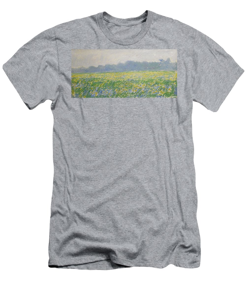 Claude Monet Men's T-Shirt (Athletic Fit) featuring the painting Champ D'iris A Giverny by Claude Monet