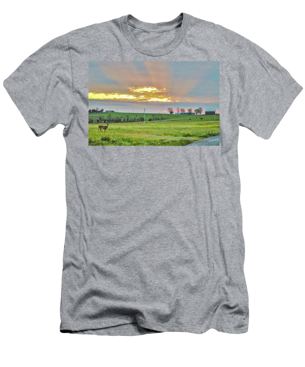 Deer Men's T-Shirt (Athletic Fit) featuring the photograph Chance Encounter by Chad Fuller