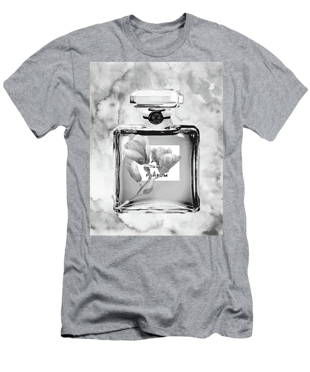 Chanel Perfume Print Men's T-Shirt (Athletic Fit) featuring the mixed media Chanel Grey Flower by Del Art