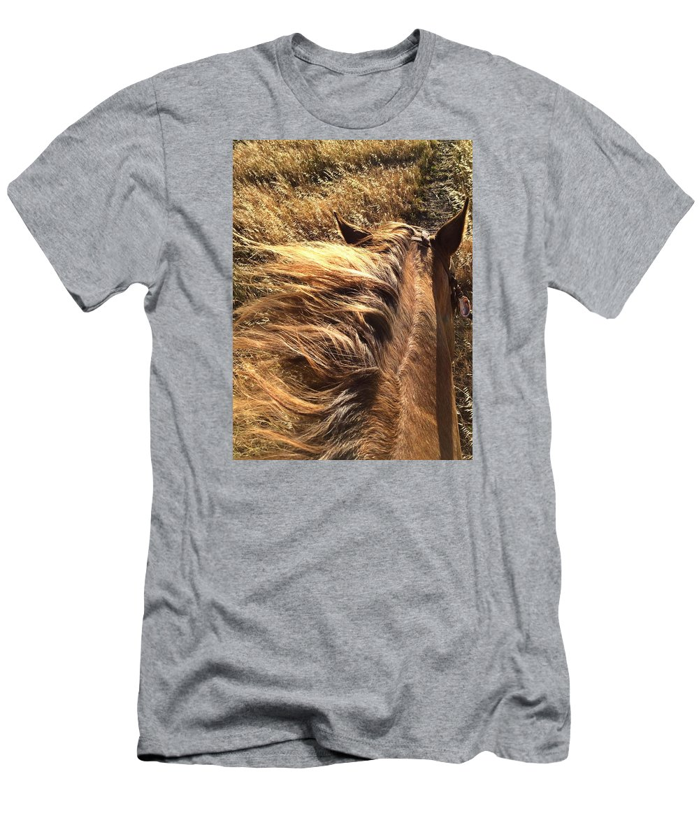 Horses Men's T-Shirt (Athletic Fit) featuring the photograph Changing With The Grass by JoJo Brown