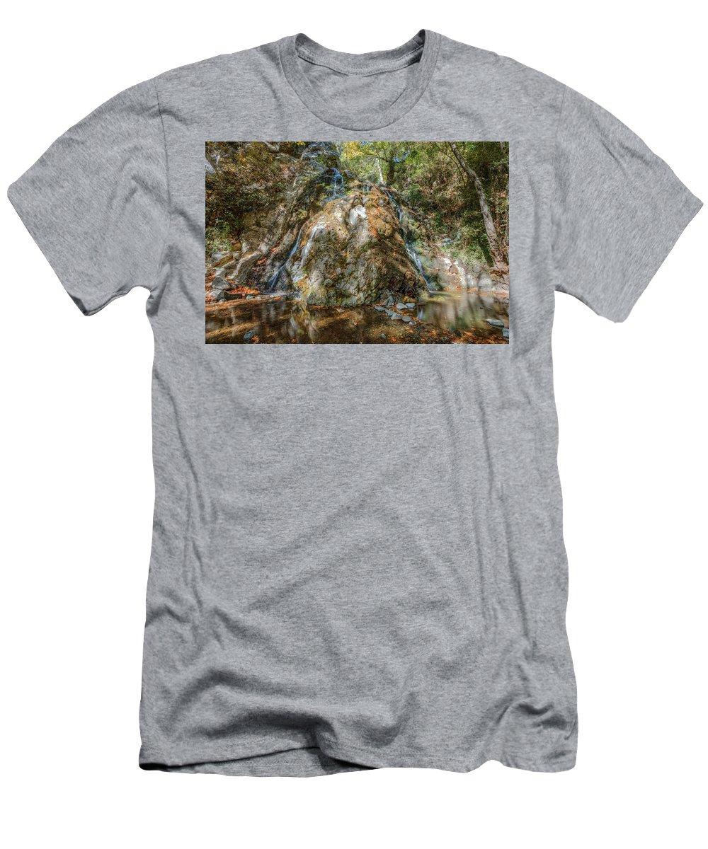 Chantara Waterfalls Men's T-Shirt (Athletic Fit) featuring the photograph Chantara Waterfalls - Cyprus by Joana Kruse