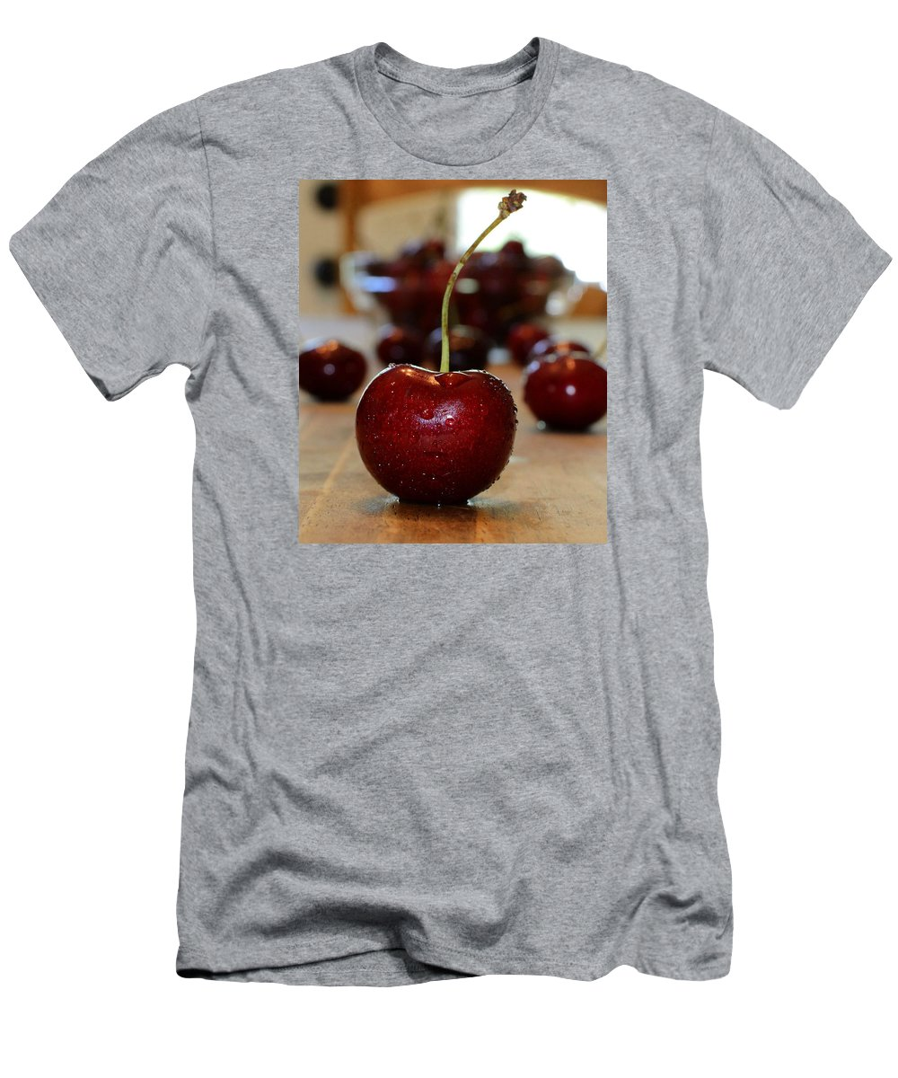 Fruit Men's T-Shirt (Athletic Fit) featuring the photograph Cherry 2 by Pam Romjue