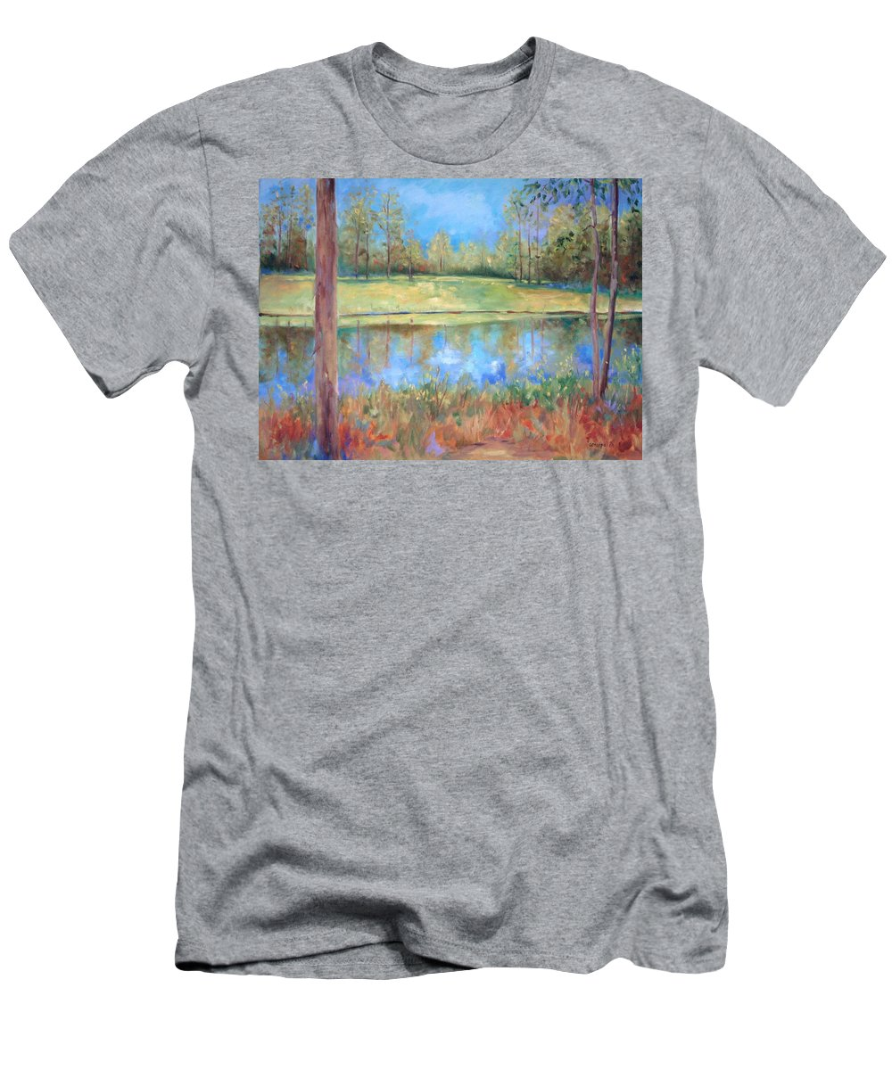 Ponds Men's T-Shirt (Athletic Fit) featuring the painting Cherry Moon Pond by Ginger Concepcion