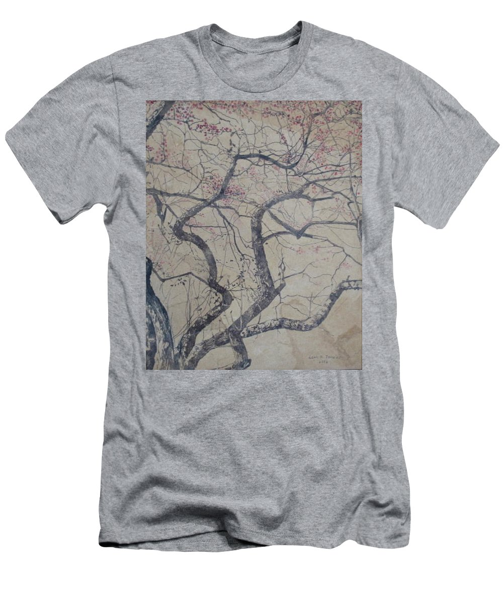 Crab Apple Men's T-Shirt (Slim Fit) featuring the painting Prairie Fire by Leah Tomaino
