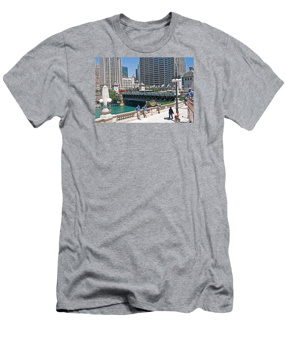 Chicago Street View Men's T-Shirt (Athletic Fit) featuring the photograph Chicago's Dusable Bridge On N. Michigan Avenue by Ginger Wakem