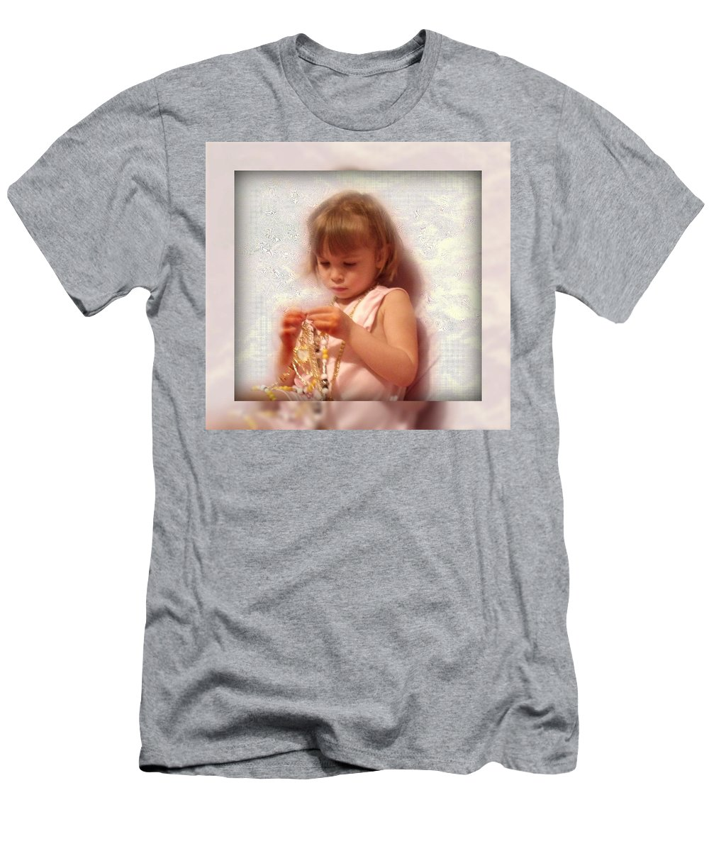 Girl Men's T-Shirt (Athletic Fit) featuring the photograph Child With Jewelry by Colette Merrill