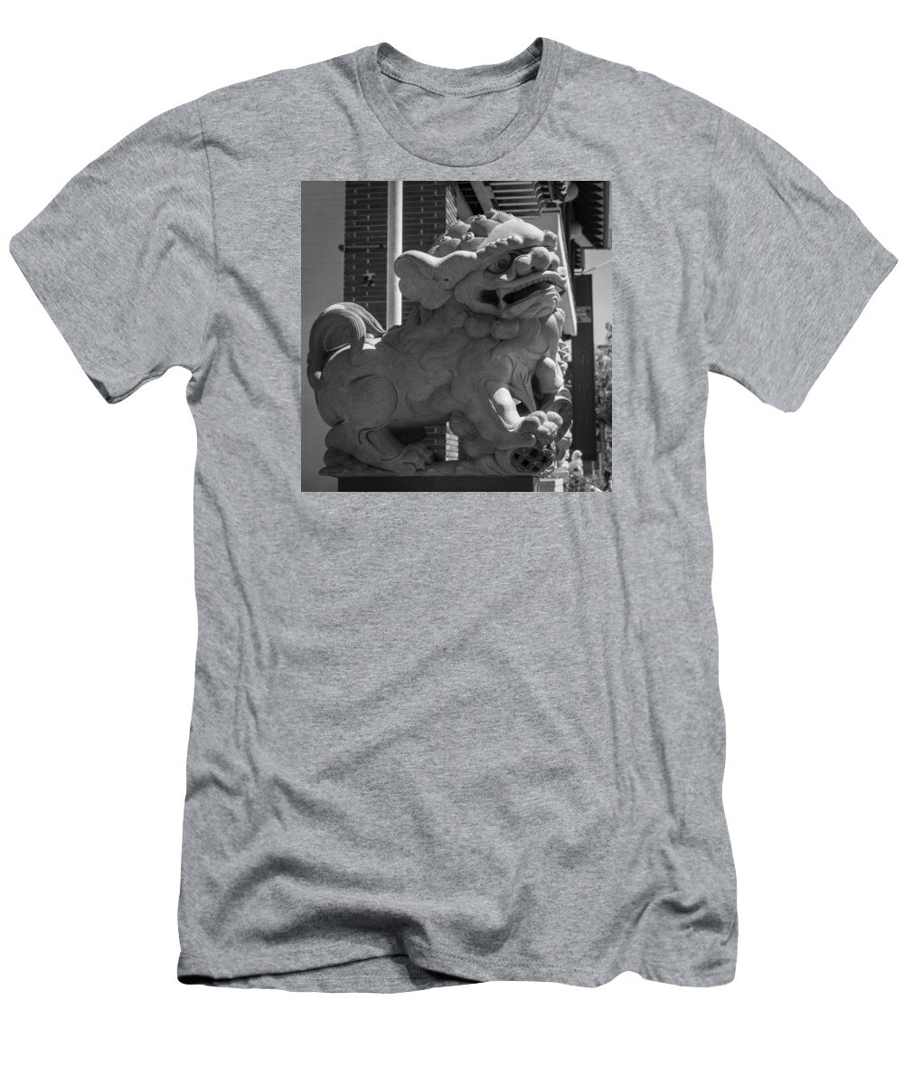 Teresa A Mucha Men's T-Shirt (Athletic Fit) featuring the photograph Chinese Guardian Male Lion B W by Teresa Mucha