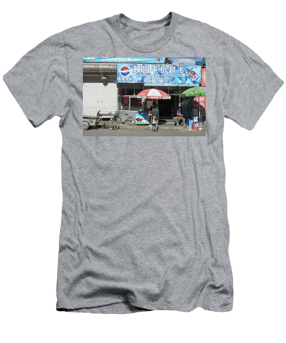 China Men's T-Shirt (Athletic Fit) featuring the photograph Chinese Storefront by Thomas Marchessault