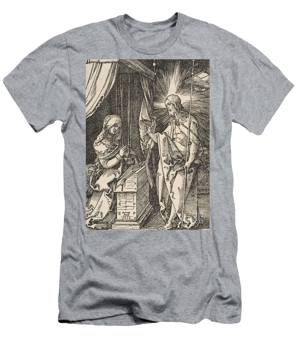 Albrecht Durer Men's T-Shirt (Athletic Fit) featuring the drawing Christ Appearing To His Mother, From The Small Passion by Albrecht Durer