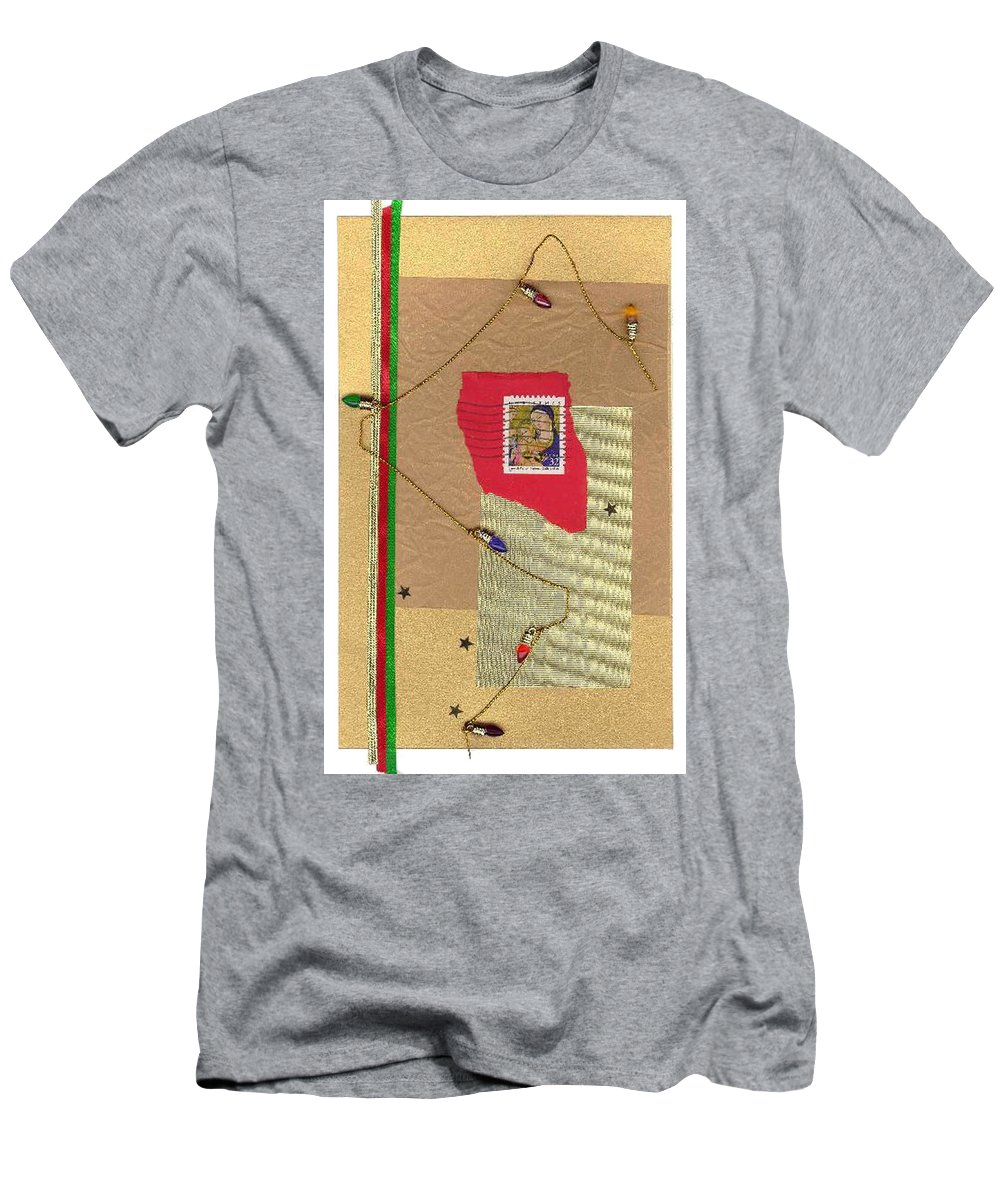 Christmas Men's T-Shirt (Athletic Fit) featuring the mixed media Christmas Card by Steve Karol