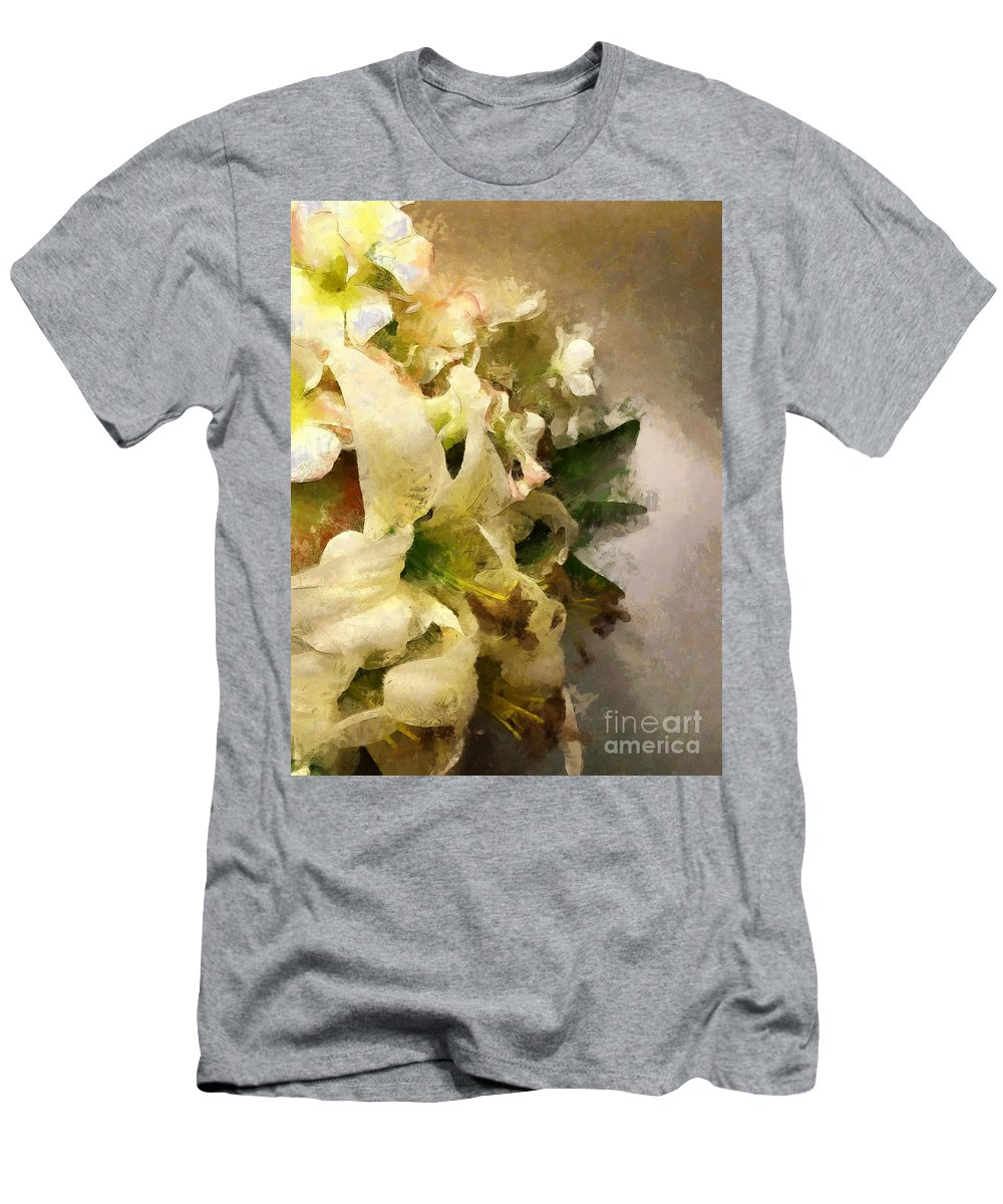 Lily Men's T-Shirt (Athletic Fit) featuring the photograph Christmas White Flowers by Claire Bull
