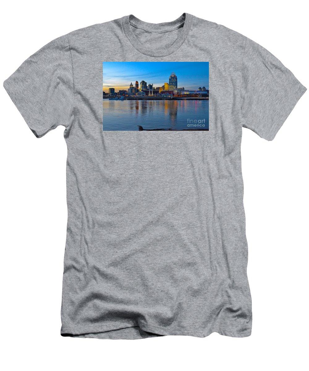 Cincinnati Men's T-Shirt (Athletic Fit) featuring the photograph Cincinnati Skyline Across The Ohio River by Ina Kratzsch