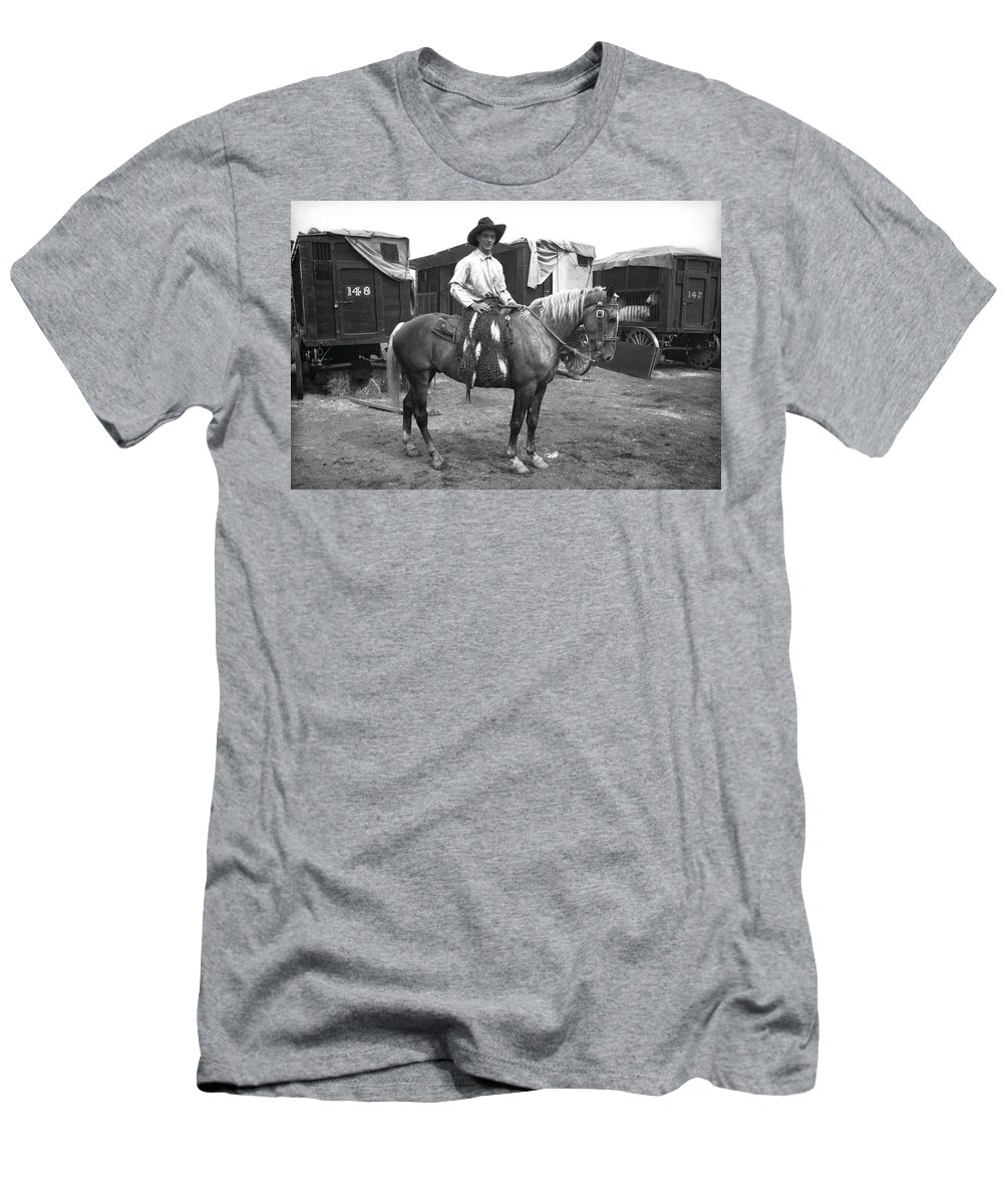 Circus Men's T-Shirt (Athletic Fit) featuring the photograph Circus Cowboy On Horse by Unknown