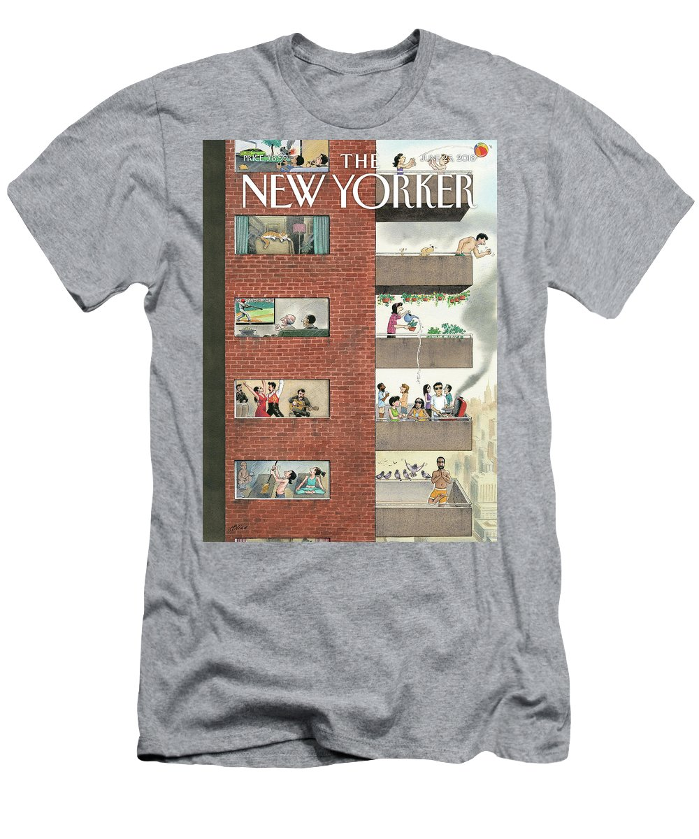 City Living Men's T-Shirt (Athletic Fit) featuring the drawing City Living by Harry Bliss