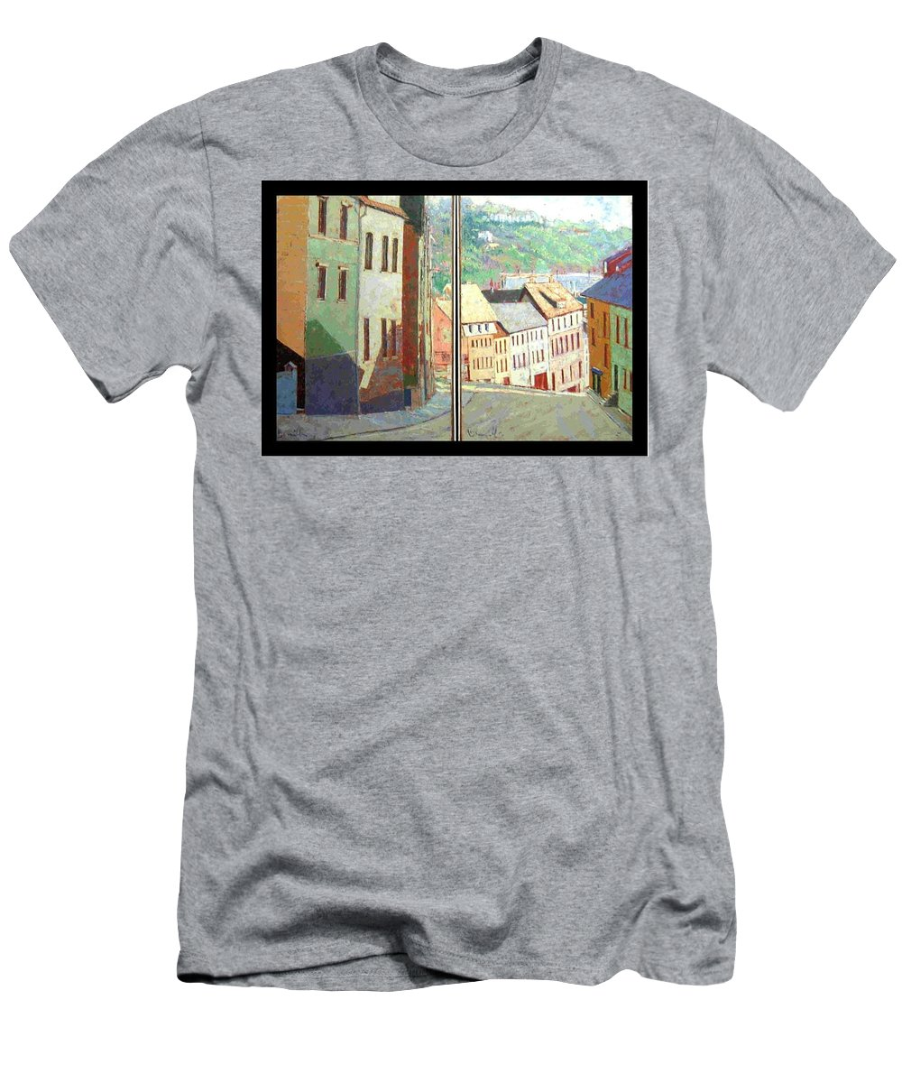 Buildings Men's T-Shirt (Athletic Fit) featuring the painting City Scape-dyptich by Walter Casaravilla