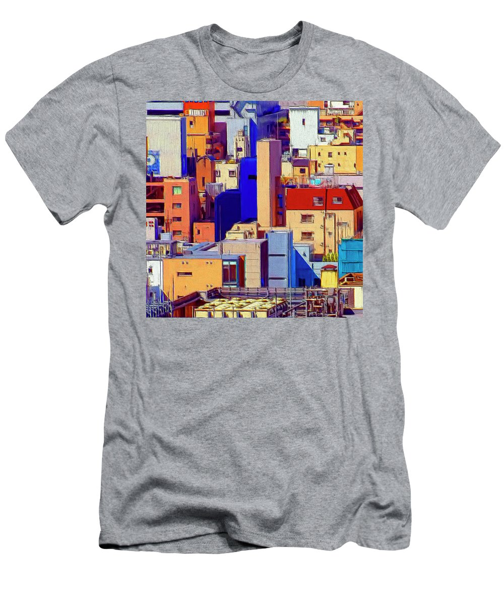 Cityscape Men's T-Shirt (Athletic Fit) featuring the painting Cityscape by Dominic Piperata