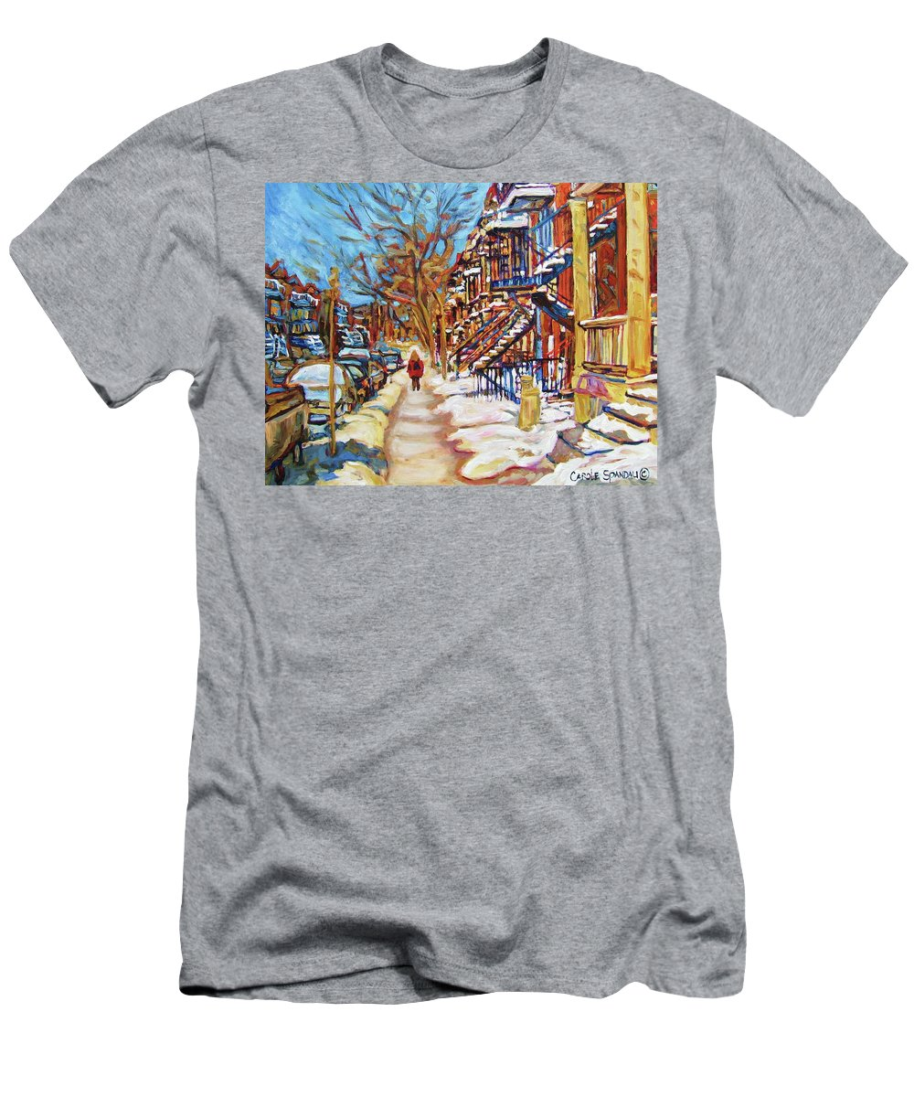Montreal Men's T-Shirt (Athletic Fit) featuring the painting Cityscene In Winter by Carole Spandau