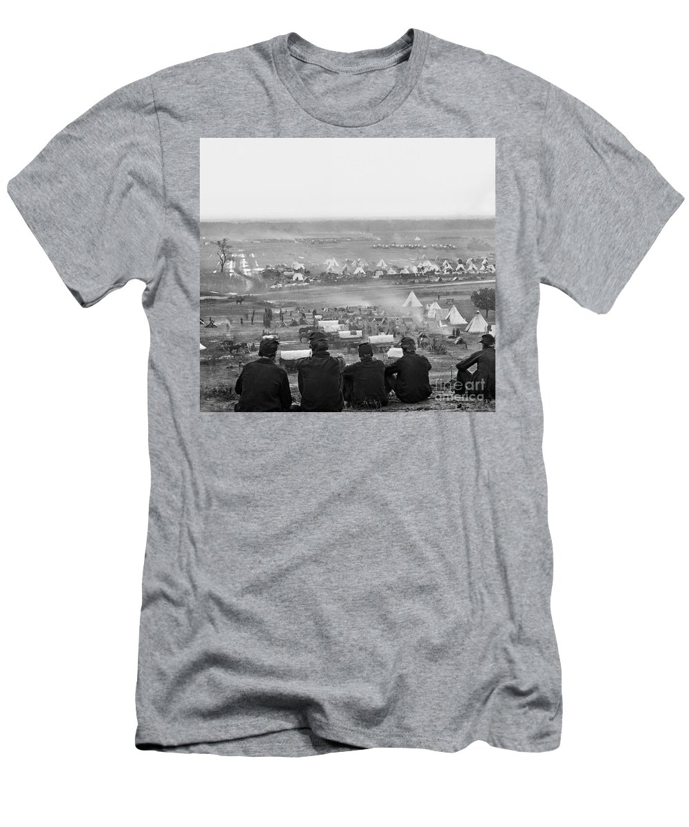 1862 Men's T-Shirt (Athletic Fit) featuring the photograph Civil War: Union Camp, 1862 by Granger